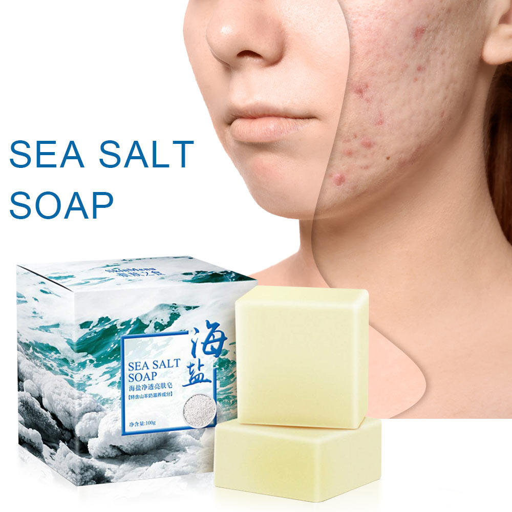 100g Goat Milk Sea Salt Soap Removal Pimple Pores Acne Treatment Moisturizing Cleaner Handmade Face Care For Travel Wash Basis