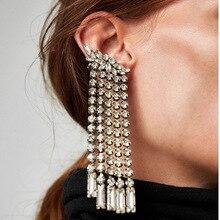 Fashion Asymmetric Drop Dangle Earrings for Women Charm Luxury Crystal Tassel Wedding Statement Jewelry Long Earrings Wholesale