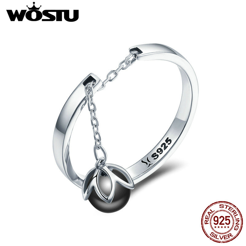 WOSTU NEW Real 925 Sterling Silver Tears Of Flowers Adjustable Rings For Women Fashion S925 Silver Jewelry Gift CQR314
