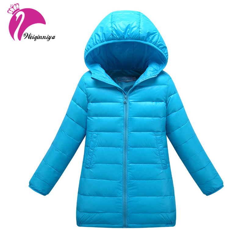 Winter Down Jacket & Coat For Girls New Brand 2017 Fashion Solid Hooded Children Parka Warm Clothes Kids Long Coat Outwears brand fashion new 2016 winter children down