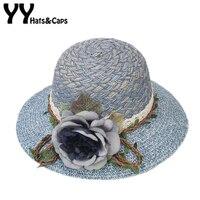 Yaz Çay Partisi Şapkalar Kadınlar Disket Katlanabilir Kap Büyük Çiçek Plaj saman Güneş Şapka Kadın Geniş Ağız Sunhat Düz Kap Chapeau YY17133