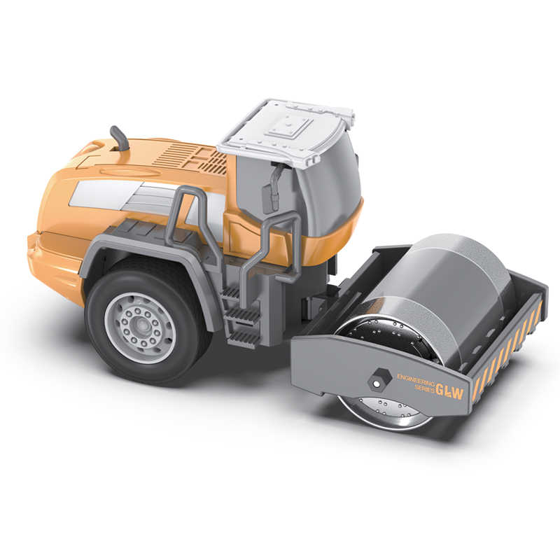 Bulldozer Car +Engineering Road Roller +Forklift Truck+ Shovel Loader Alloy Head 1:55 Simulated Vehicle Toys Educational Gift