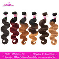 "Ali Coco Brazilian Body Wave Hair Extensions ""8-30"" inch 100% Human Hair Weave Bundles 3/4 PCS Omber Non Remy Hair Bundles"