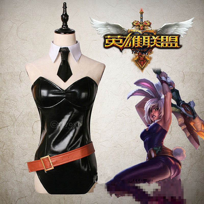 COSREA Hot Game Lol Cosplay Costume Riven Bunny Girl Black Sexy PU Jumpsuit With Tie Bodysuit Costumes Halloween Party For Woman