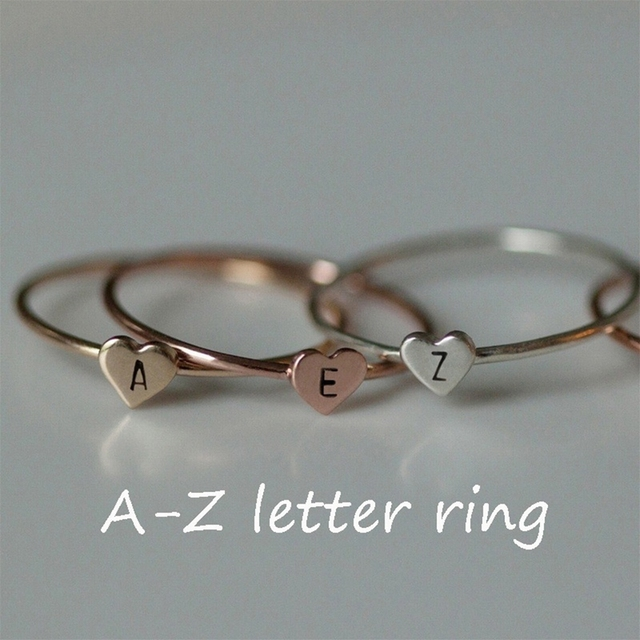 2019 Fashion Gold Silver Heart Letters Rings Women DIY Name Alloy Letter Ring Set Female Statement Engagement Party Jewelry 1PC