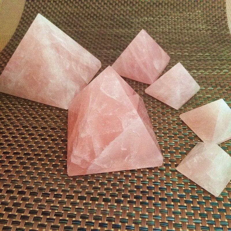 100 natural rose quartz crystal pyramid fengshui stone pyramid
