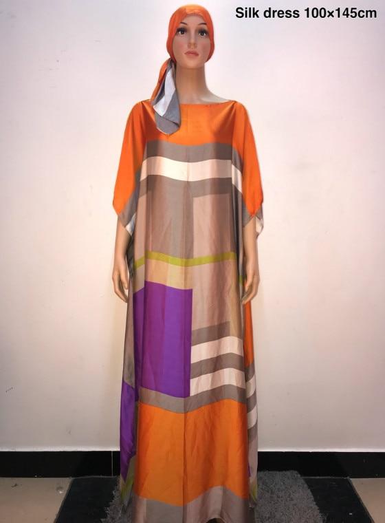 African Dresses For Women 2019 Popular Satin Silk Summer Women Dress Italian Style Kaftan Silk Dresses Muslim Women Long Dresses