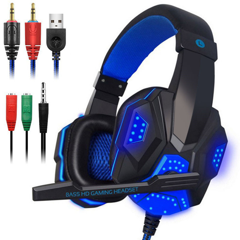3.5mm Earphone Gaming Headset Gamer PC Headphhone Gamer Stereo Gaming Headphone With Microphone Led For Computer v2000 headset 7 1 channel 3 5mm jack bass stereo sound effect gaming headphone with mic for computer pc laptop gamer earphone