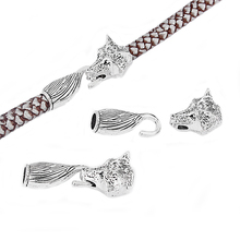 Фотография 3 Sets Antique Silver Wolf Head End Cap Hook Tail Clsap Fit 8mm Round Leather Cord Jewelry Accessories Findings silver