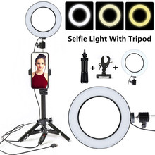 "Tycipy 6"" Selfie Ring Light Mini LED Photography Ringlight With Tripod Stand Phone Holder For YouTube Video/Live Stream/Makeup(China)"