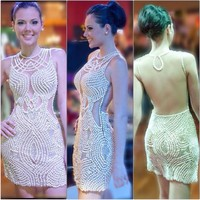N615 Luxury 2019 Heavy Pearls Cocktail Dress Vestido De Festa Hollow Back White Tulle Short Formal Party Vestido De Festa