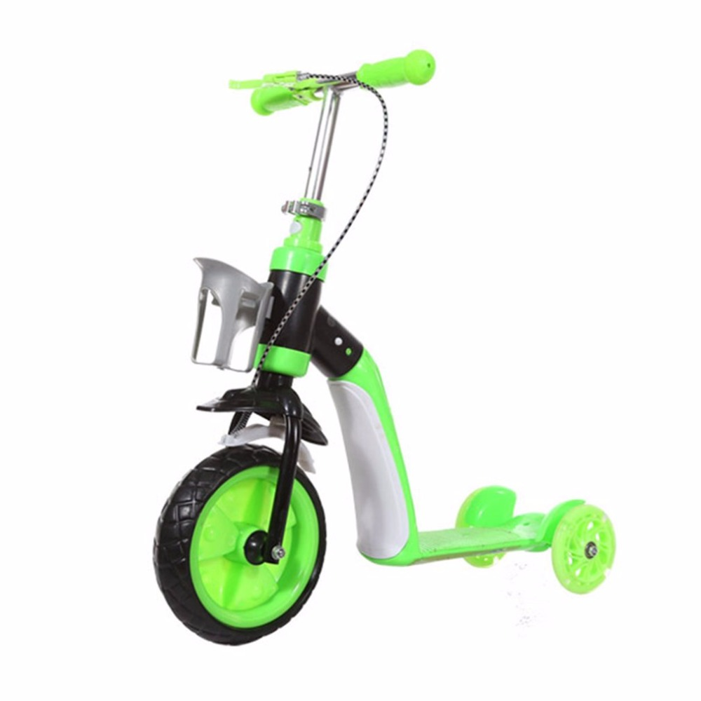 Children Scooter Three Wheels Slide Two In One Child Sliding Vehicle With Bottle Holder Adjustable Height Large Front Tyre