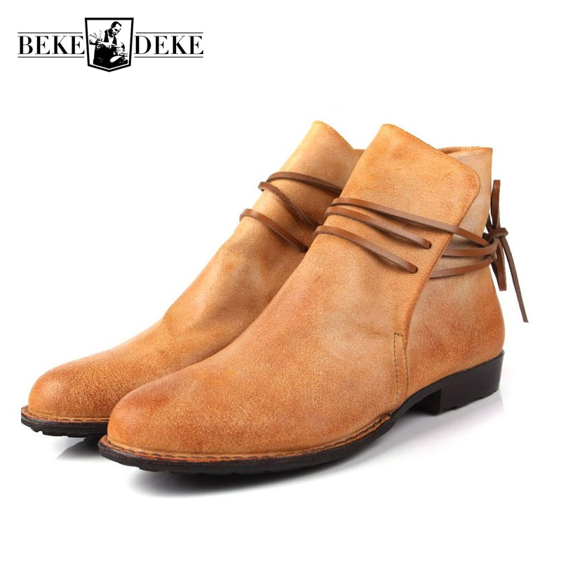 Mens Casual Ankle Boots Harajuku Lace Up Flats Shoes Male Genuine Leather Martin Boots Slip On Breathable Cowboy Botas Hombre red men wedding dress shoes pointed toe ankle boots genuine leather botas hombre cowboy military boots metal decor men flats