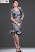 Formal Wedding Party Gown Designer Mermaid Gray Mother of the Bride Dress with Jacket