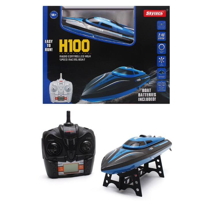 High Speed RC Boat H100 2.4GHz 4 Channel 30km/h Racing Remote Control Boat with LCD Screen toy gift For children h625 rtr spike fiber glass electric racing speed boat deep vee rc boat w 3350kv brushless motor 90a esc remote control green