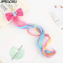 1Pc New Unicorn Hairbands Kids Cute Bow Hairgrips Shining Sequin Wig Hairpins Girls Christmas Gift Party
