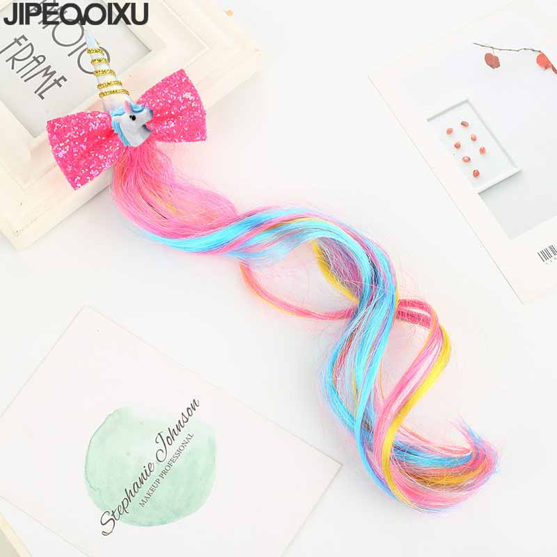 1Pc New Unicorn Hairbands Kids Cute Bow Hairgrips Shining Sequin font b Wig b font Hairpins