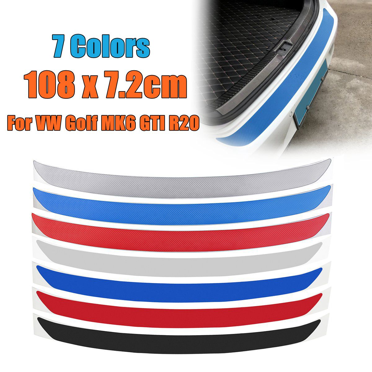 1Pc Carbon Fiber Rear Bumper Protector Sticker Trim 7 Colors For VW Golf MK6 GTI R20 Car-Styling Sticker And Decals 108x7.2cm cool scorpion design die out vinyl sticker on car for vw polo golf mazda and so on fashion car side door decals labels