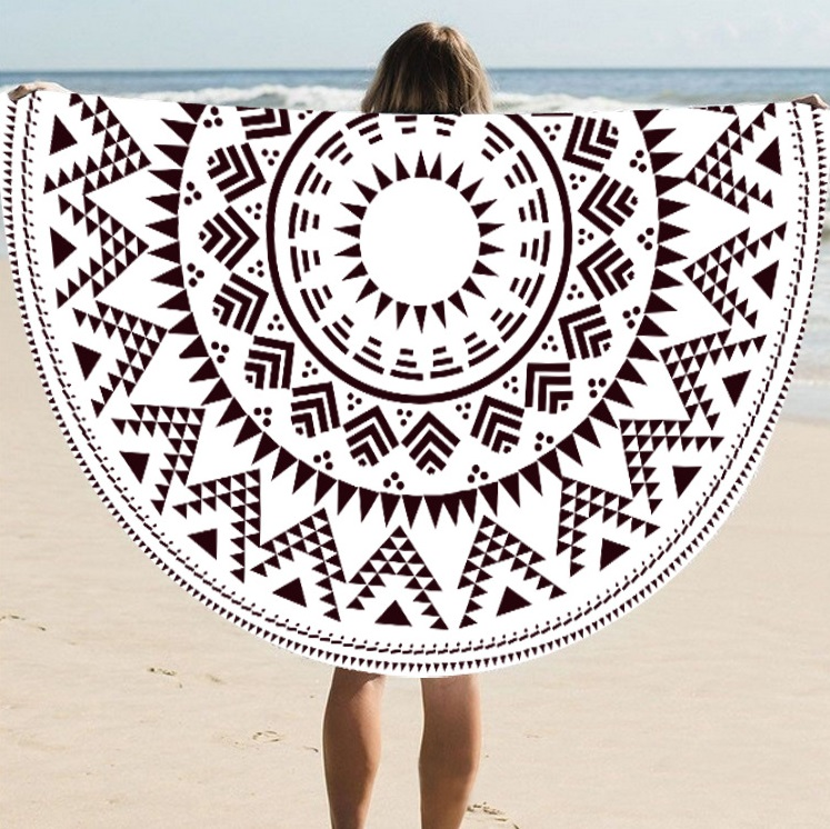 Supply Quality Round Silk Sunscreen Digital Printed Beach Towel St06-56