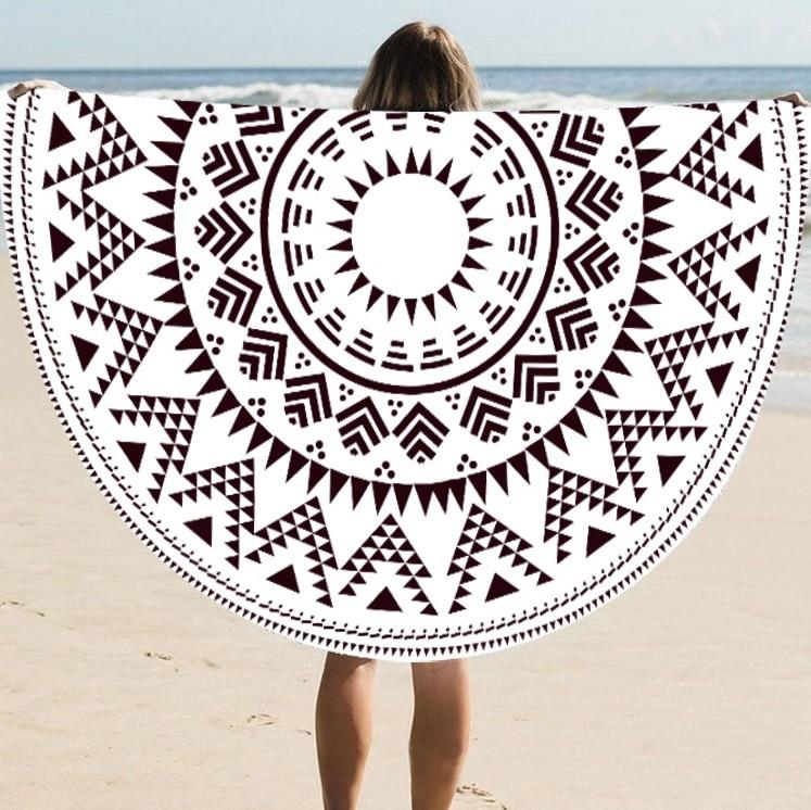 Supply Quality Round Silk Sunscreen Digital Printed Beach Towel St06-56