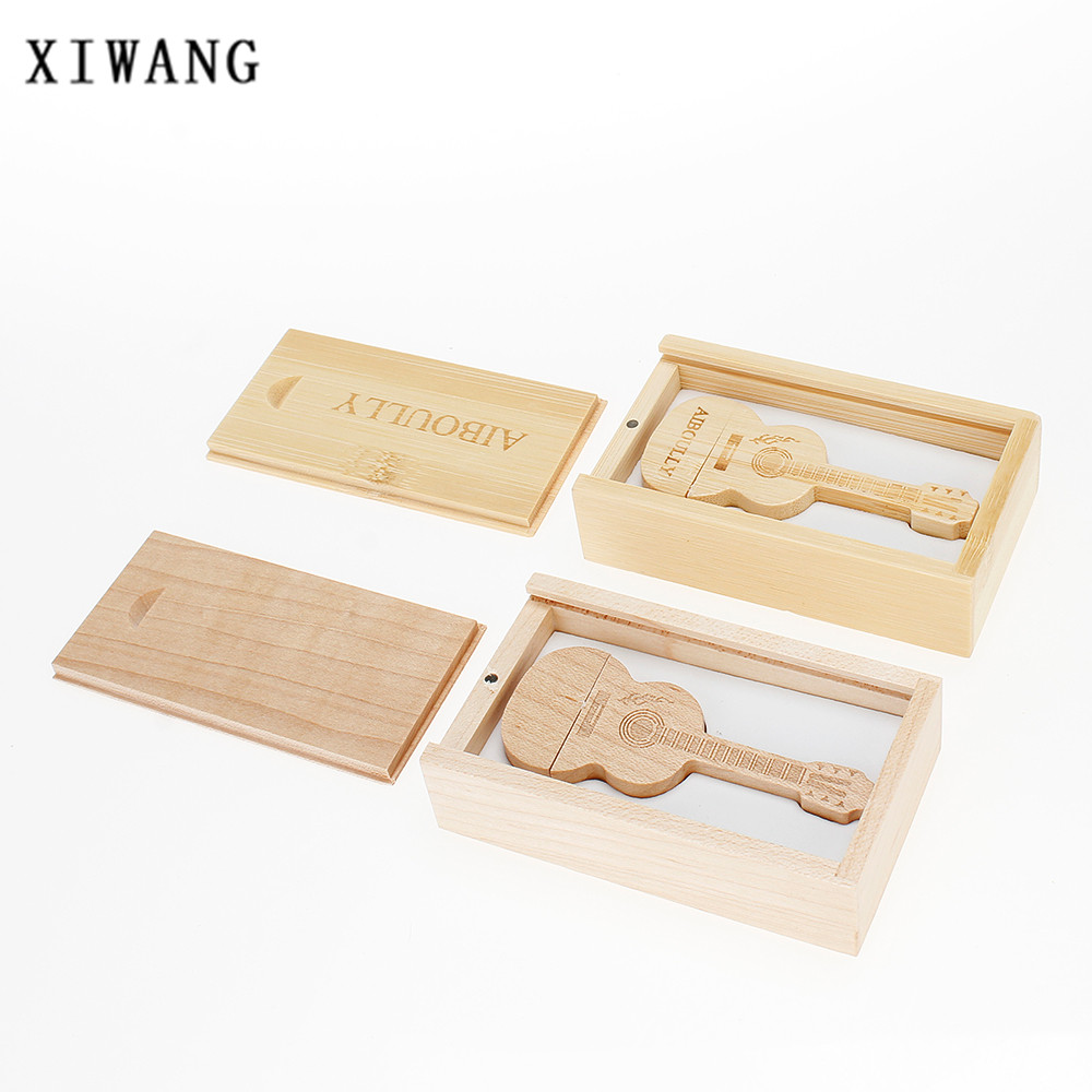 XIWANG natural wood bamboo guitar USB pen memory stick 2.0 4GB 8GB 16GB 32GB 64GB engraved LOGO memory stick gift free shipping ...
