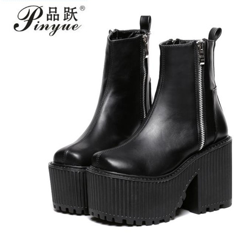 Botines Tacon Mujer Black White Platform Boots Punk Rock Motorcycle Boots Zipper Chunky Ankle Boots High