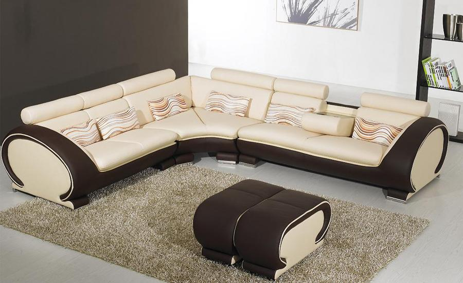 Free Shipping Large L Shaped Genuine Leather Hard Wood Frame Corner Leather Sofa  Classic Black U0026 White Modern Sofas L8065 3 In Living Room Sofas From ...