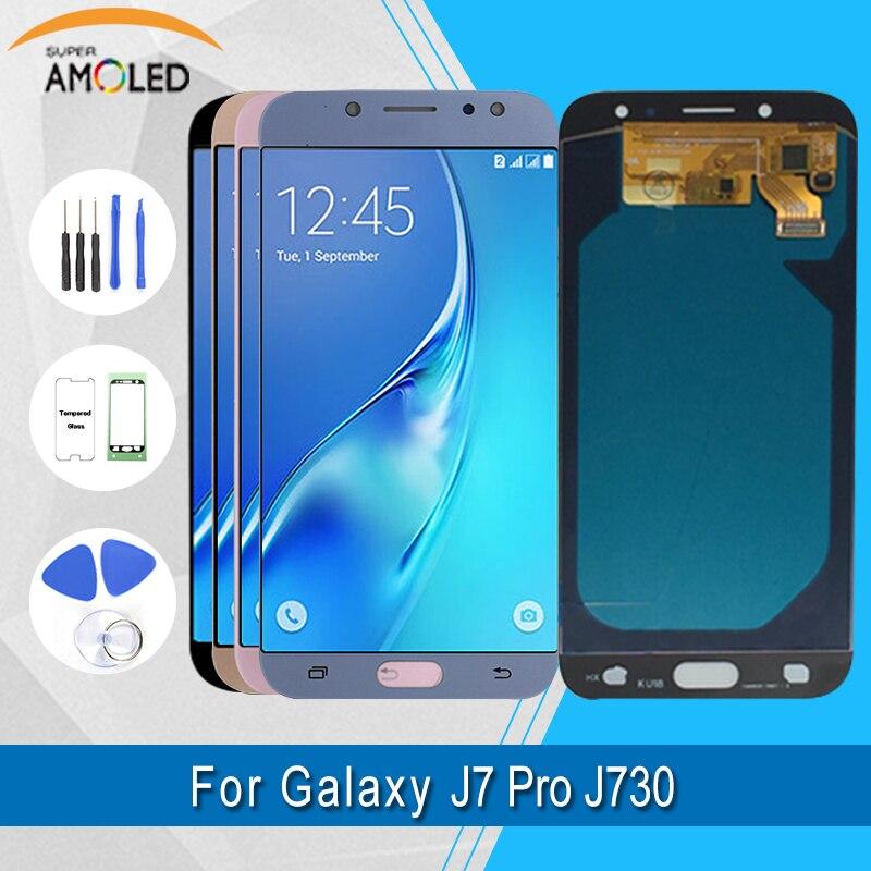 Pour Samsung Galaxy J7 Pro 2017 J730F Lcd Super Amoled Lcd écran tactile assemblage pièces de réparation et écran Lcd avec outils