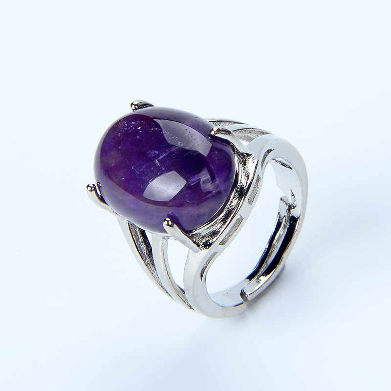 New Women Fashion Ring Natural Stone Pink Quartz Purple Crystal Lapis Opening Rings Opal Oval Bead Adjustable Size Party Jewelry