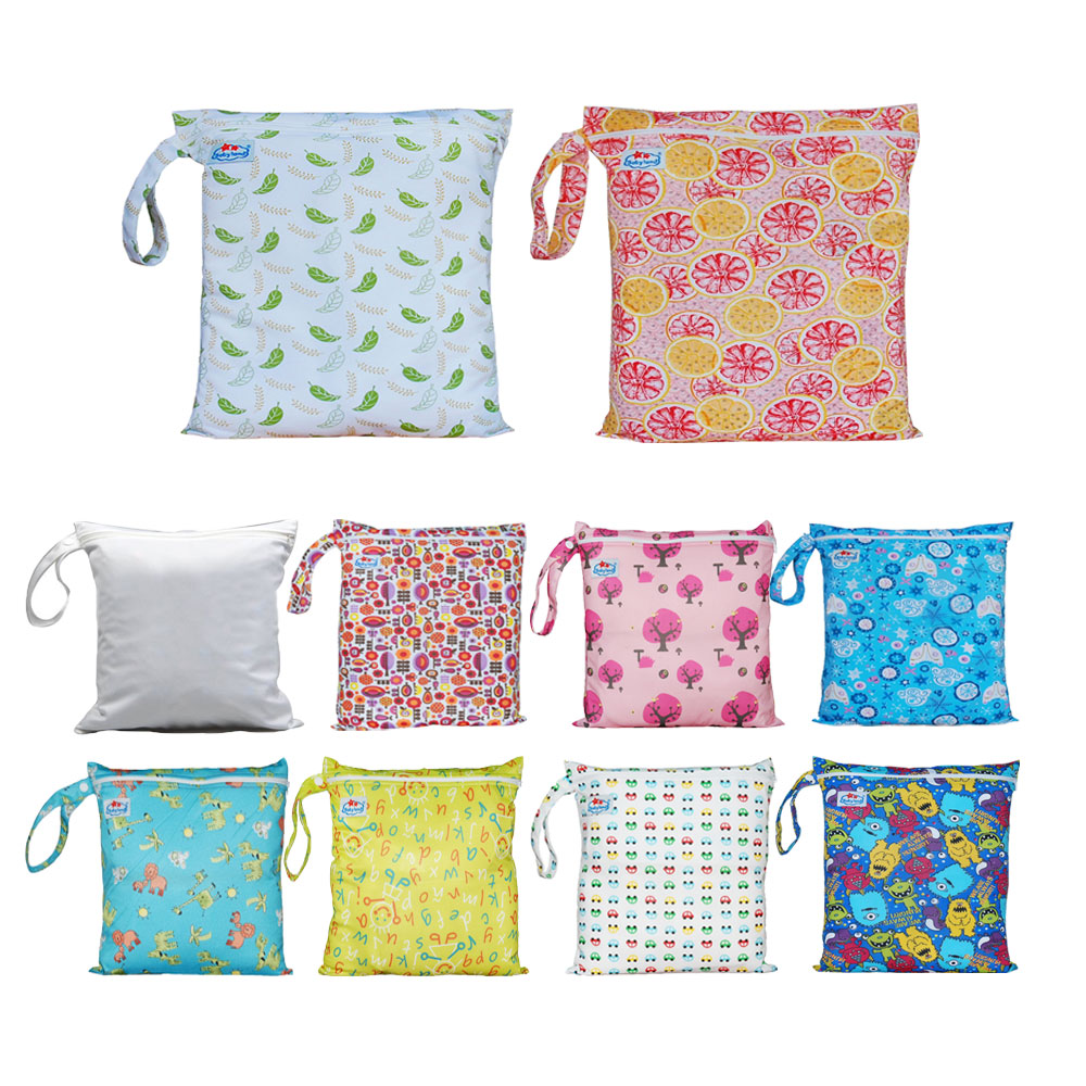 2-Zip Washable Baby Cloth Diaper Nappy Bag Elephant Pattern Wet Dry Waterproof Reusable Portable Cloth Diapers Wet Bag Zippered Pockets Carrying Storage Travel Bag Organizer for Baby Infants