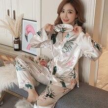 2018 Autumn Soft Silk Kimono Pajama Sets for Women Long Slee