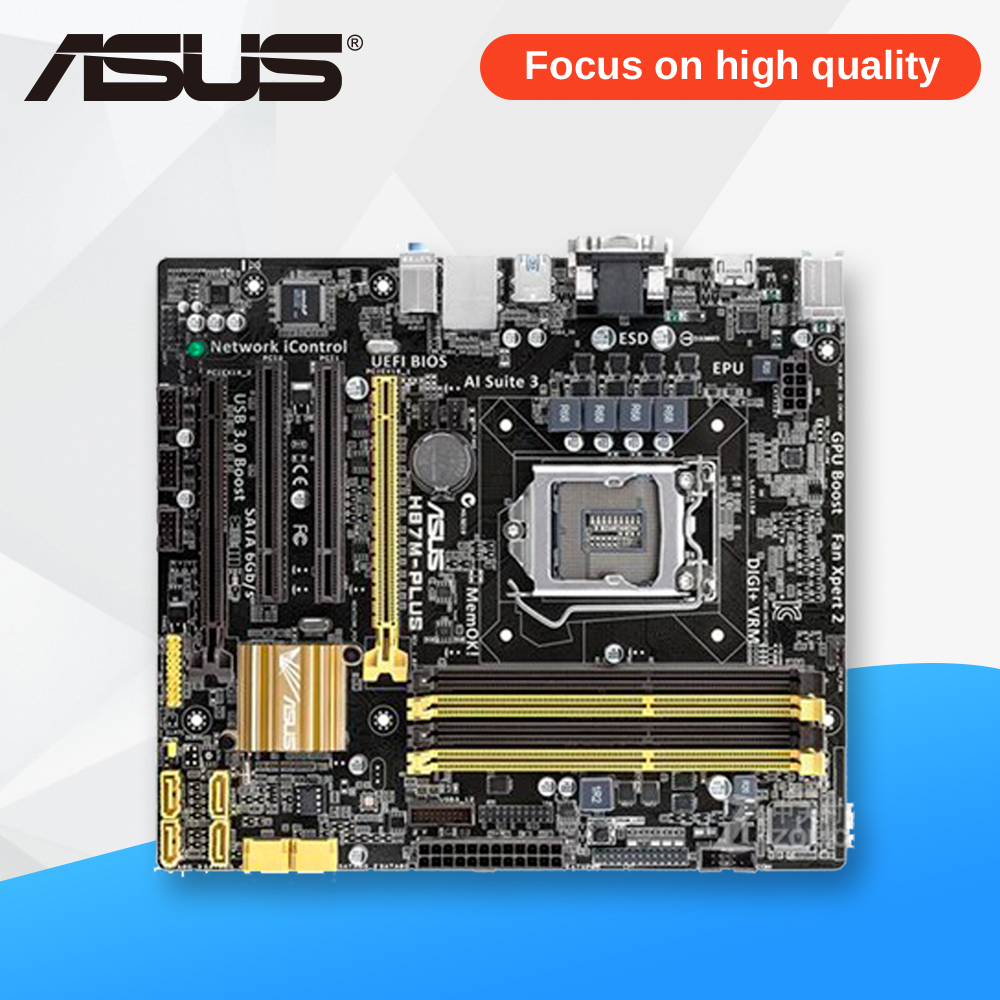 Asus H87M-PLUS Desktop Motherboard H87 Socket LGA 1150 i7 i5 i3 DDR3 32G SATA3 UBS3.0 Micro-ITX wholesale 5pcs eachine e010 3 7v 150mah battery usb charger set rc quadcopter spare parts