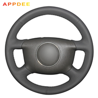 APPDEE Black Leather Hand stitched Car Steering Wheel Cover for Audi A6 2000 2004 Audi A3 2000 2003 A4 B6 2002