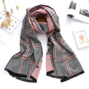 Image 1 - 2020 marca de luxo inverno cachecol caxemira cachecóis para xales e envoltórios xadrez grosso quente macio oversized cobertor echarpe femme