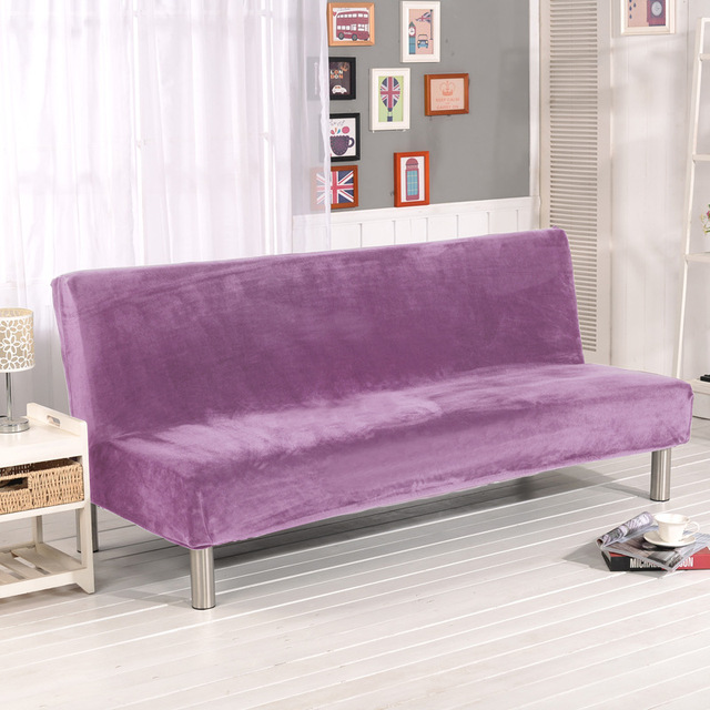 All Inclusive Plush Sofa Cover Without Armrest Bed Velvet Solid Fabric