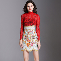 High quality Fashion Runway Women's Skirts 2 Two Pieces Sets Sexy Red Lace Top + Vintage Floral Embroidery Skirts Sets Suits