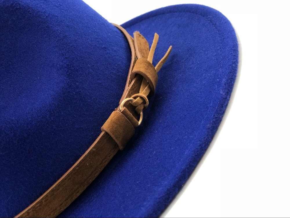 النساء الرجال قبعة فيدورا من الصوف مع الجلود الشريط شهم أنيقة سيدة الخريف الشتاء واسعة حافة الجاز الكنيسة بنما قبعة سمبريرو
