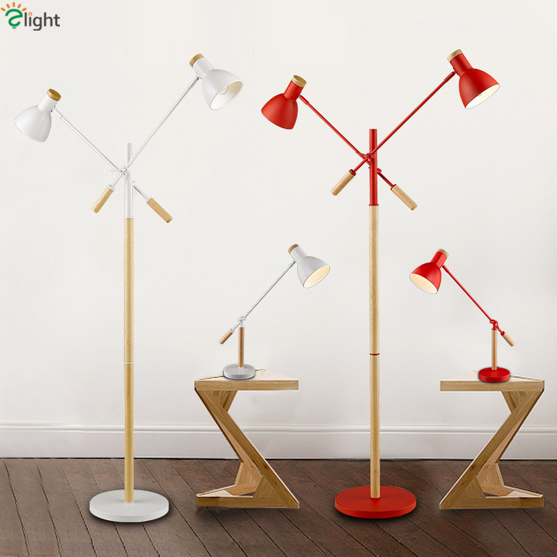 4 Colors Solid Wood 2 Head Rotatable Metal Led Floor Lamp