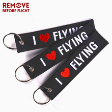 3 PCS/LOT Motorcycle Keychain I LOVE FLYING Key Ring OEM Fashion Jewelry Safety Label Embroidery Chain Aviation Gifts