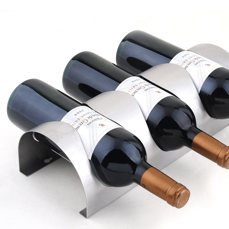1PC new design 304 Stainless steel wall wine rack wall mounted bar counter wine holder for 3 bottles J3003