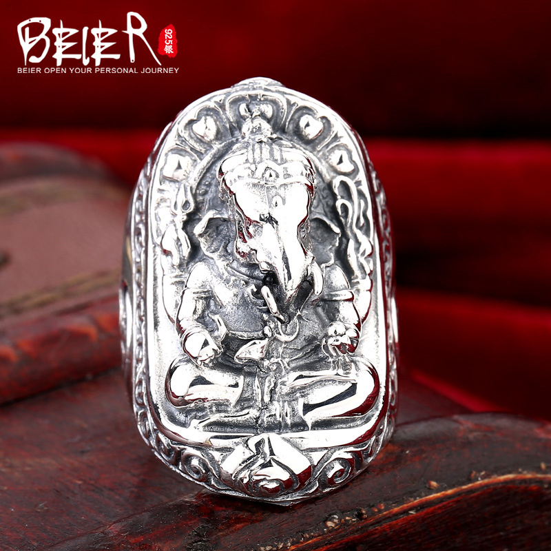 Beier 925 silver sterling jewelry 2015 domineer Thailand four hands elephant man ring D1014 beier 925 silver sterling jewelry 2015 men s retro domineering ring animal ring super big dragon man ring d1234