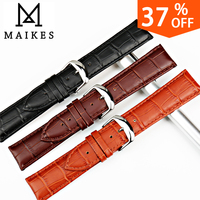 MAIKES All New Design Genuine Leather Watch Strap 12mm 24mm Soft Durable Good Quality Black Men
