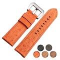 Старинные Натуральной Кожи Страуса Высокое Качество Кожаный Ремешок Для Часов Для Высокого класса Часы 24 мм