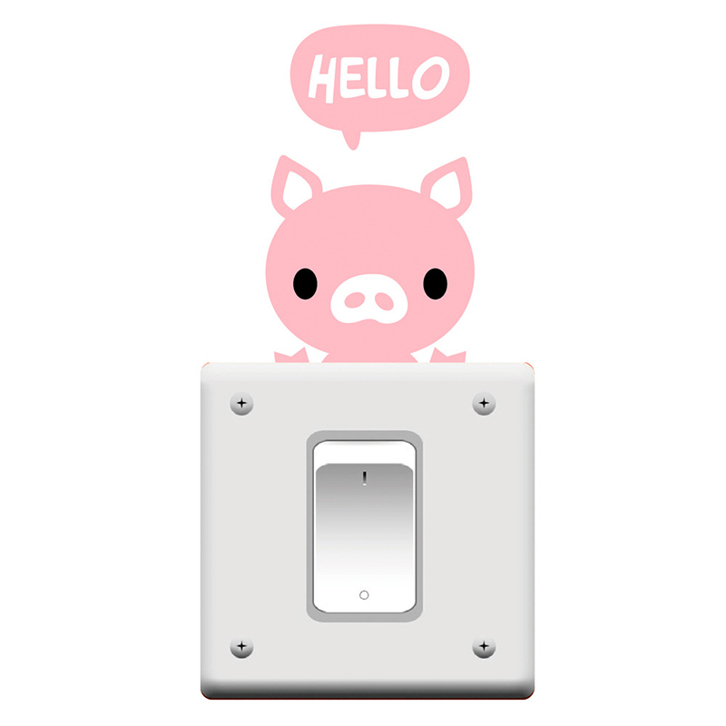 Aliexpress Buy Cute Cartoon Hello Pig Mini Vinyl Decal Wallpaper Stickers Switch For Kids Bedroom Door Decoration DIY3D Living From