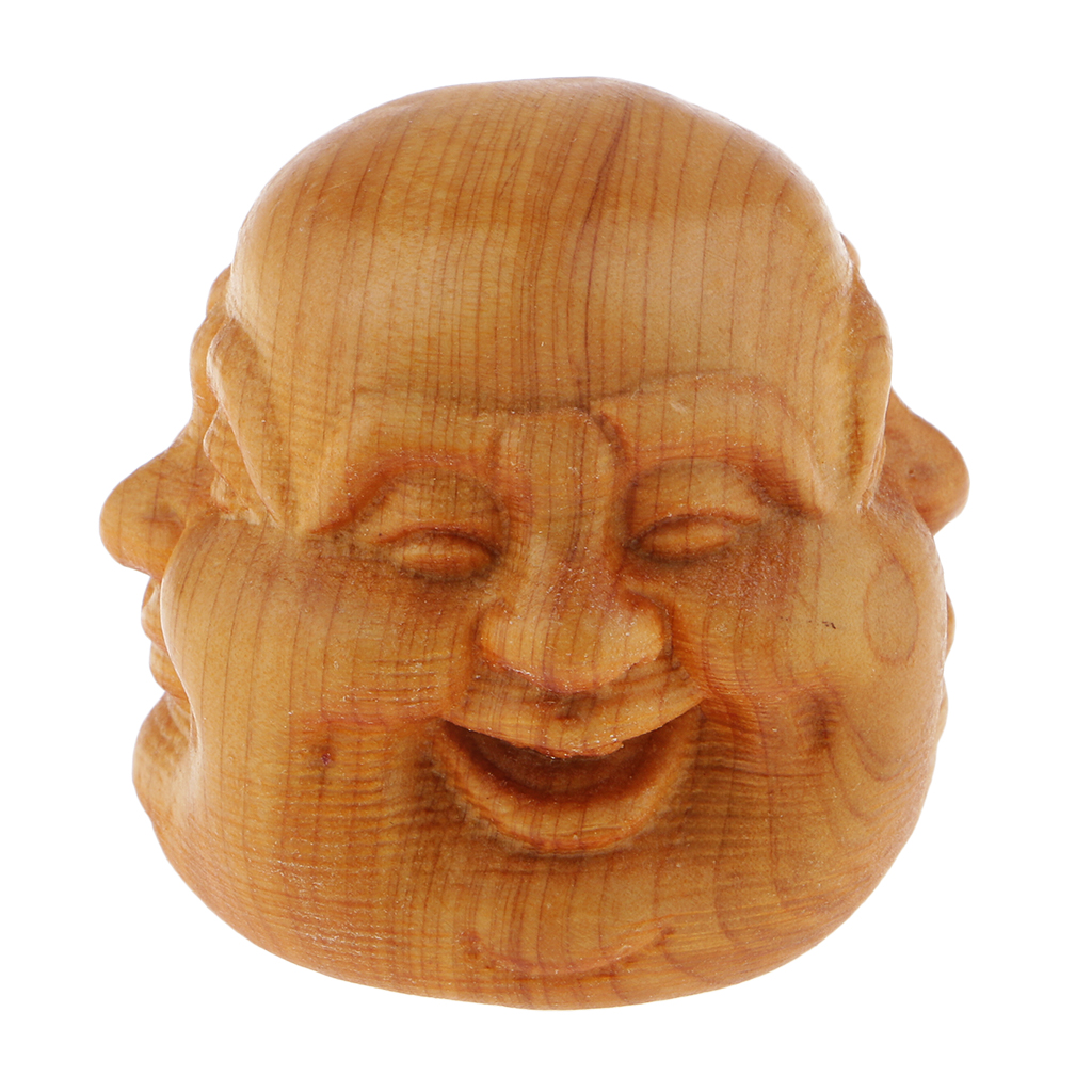 Hand Carved Four-Face Buddha Head Sculpture Ornament Indoor Office Home Decor Wooden 4x4x4cm