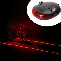 Nice Cycling Bike Bicycle 2 Laser Projector Red Lamps Beam And 5 LED Rear Tail Lights