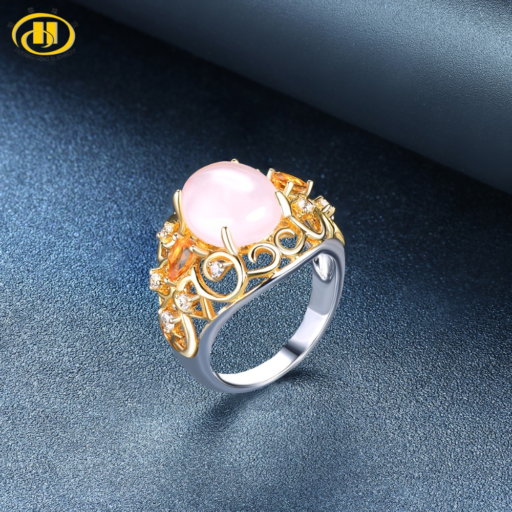 Hutang Engagement Ring Natural Gemstone Rose Quartz Citrine Yellow Gold Solid 925 Sterling Silver Fine Fashion Jewelry For Gift