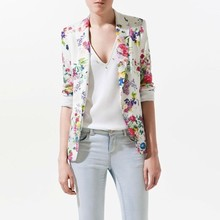 Zala Chic Long Sleeve Slim Fit Floral Prints Blazer Jacket Free ShippingQW4087