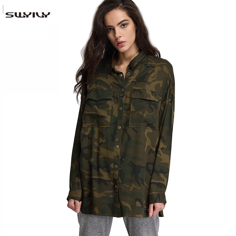 SWYIVY Women's Shirt Casual Long Sleeved Printed Shirt Rayon Camouflage Blouse Fashion Wild Lapel Jacket women's Shirt