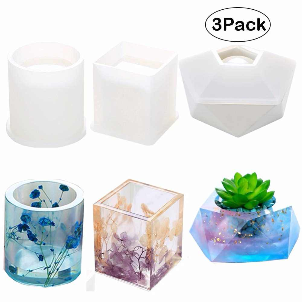 DIY Epoxy Resin Craft Mold Crystal Stone Candle Holder Silicone Mould